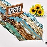 Bateruni Maserieren Quaste Tischläufer, Braun Blau Baumwolle Leinen Tischwäsche Matte, Umweltfreundlich Strapazierfähig Tischband für Esszimmer Party Urlaub 35 * 180cm - 2