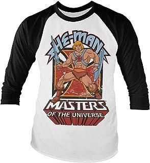 Camiseta de manga larga con licencia oficial de He-Man (ajuste ajustado), color blanco y negro