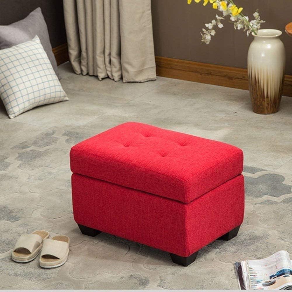 Chaise Repose-pieds en bois massif + Lin Coton moderne de la mode Tabouret de rangement Tabouret Accueil Tabouret Banc de chaussures (Color : Red) Red