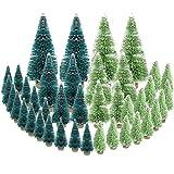 mengger 42Pcs árbol de Navidad pequeño Miniatura Nieve de sisal para decoración de Mesa Mini Artificial Soporte Christmas