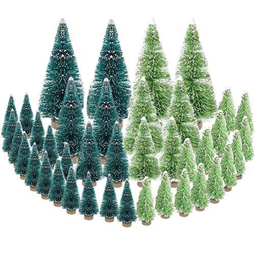 mengger 42Pcs Künstlicher Weihnachtsbaum Mini Tannenbaum Miniatur Christbaum Weihnachts Baum Dekoration 4.5/6.5/8.5/12.5cm Naturgetreuer Christmasbaum für Tischdeko DIY Schaufenster