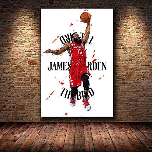 UIOLK Póster de Harden Curry y Lebron James, Estrella de Baloncesto, Arte Mural, Lienzo, decoración de Pared para Sala de Estar