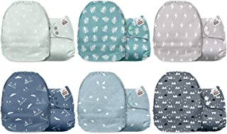 Mama Koala One Size Baby Washable Reusable Pocket Cloth Nappies, 6 Pack with 6 One Size Microfiber Inserts (Serenity)