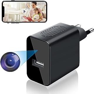 Cámara Espía WiFi USB, Igzyz 4K/1080P Cámara Mini cámara Oculta con Alarma de Detección de Movimiento, Mini Cámara de Vigi...