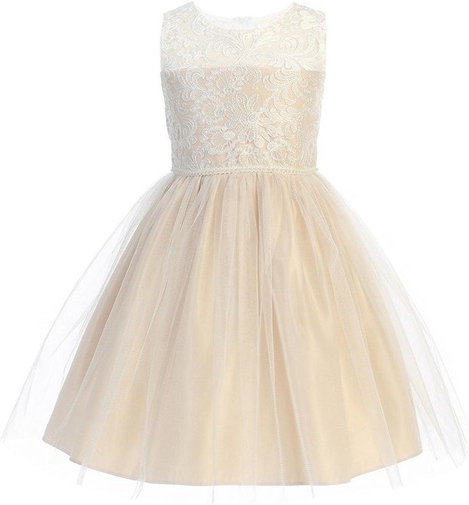 Sweet Kids Little Girls Champagne Mesh Pearl Trim Party Flower Girl Dress 4-6
