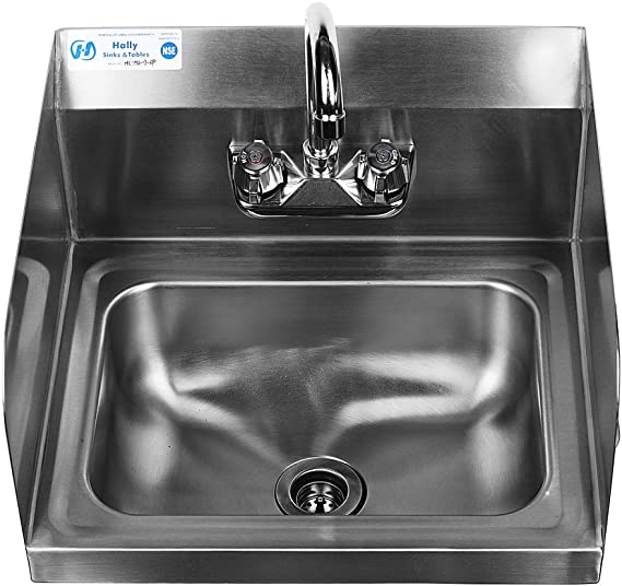 Stainless Steel Sink for Washing with Faucet and Side Splash NSF