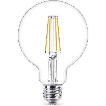 Philips ampoule LED Globe 93mm E27 60W Blanc Chaud Claire, Verre
