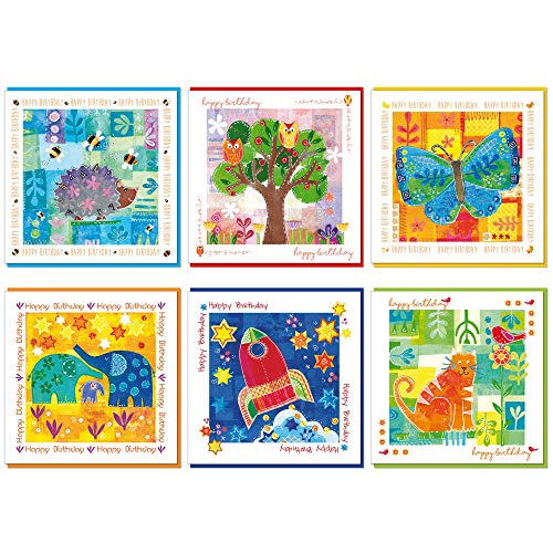 Verpakking van 6 christelijke verjaardagskaarten, 14x14cm, elk met een bijbelvers links aan de binnenkant van de kaart, een gekleurde envelop. Blank binnen voor je eigen bericht. (Hedgehog, Uil, Vlinder, Olifant, Raket, Kat)