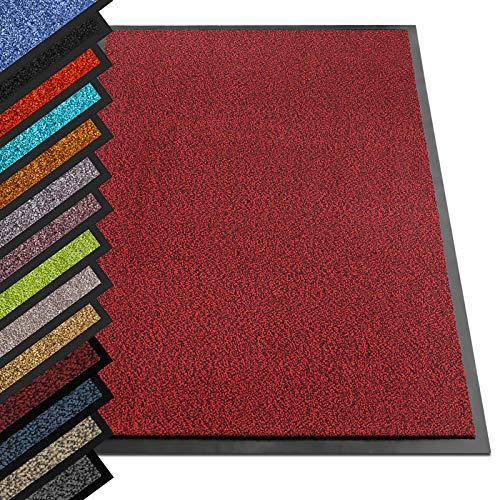 etm® Schmutzfangmatte - Note 1,6: Sieger Preis-Leistung - Fußmatte in vielen Größen - Türmatte Fußabstreifer für Haustür innen und außen (Rot-Schwarz, 90x150 cm)