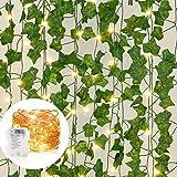 Boic Plantas Hiedra Artificial con 100 LED Luz de Navidad, Blanco...