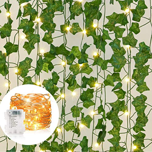 Boic 12 Pack Artificial Ivy Leaf Garland Leaves Greenery Hanging Vines, Wedding Fake Ivy Garland with 100 LEDs outdoor String Lights for Wedding Party Garden Wall Christmas Decoration