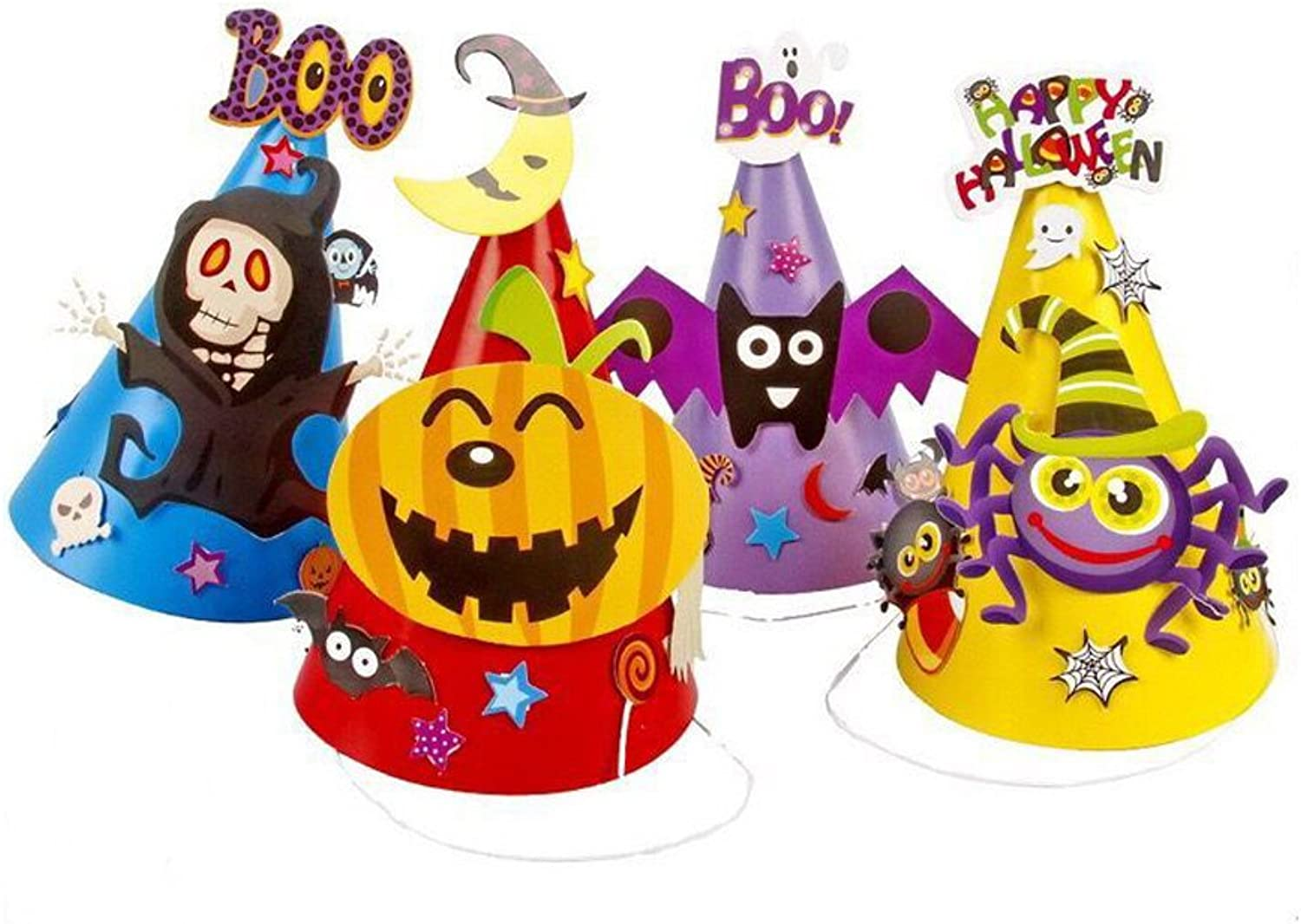 LW 4 pcs Halloween Party DIY Paper Cartoon Hat, Hat Witches, Spiders, Pumpkins, Decorations, Party Props for Kids