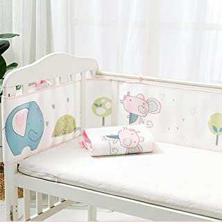 Redsa Baby Cot Bumper Wrap Around Protection Breathable Sandwich Mesh Liner Cradle Quilt Set for Baby's Bed Breathable Universal Crib Guardrail Wrap