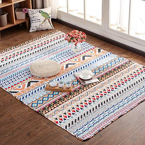 Affordable PLY Woven Bedroom Living Washable Carpets,Cotton Home Crawling Tatami Floor Mat Carpet No...