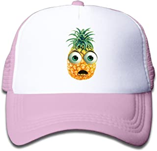 Kim Lennon Cartoon Pineapple Face Custom Summer Boys Hats Caps Lightweight Mesh Flexfit Pink