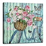Anolyfi Flowers Canvas Wall Art Vintage Bicycle Painting Butterfly Picture Nature Prints Abstract Artwork Framed for Bathroom Living Room Kitchen Dinning Room Bedroom Home Office Decor 20'X20'