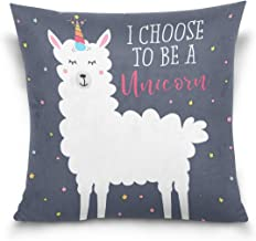 """MASSIKOA Llama Unicorn Decorative Throw Pillow Case Square Cushion Cover 16"""" x 16"""" for Couch, Bed, Sofa or Patio - Only Ca..."""