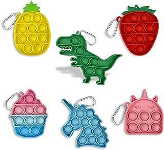 Sponsored Ad - Pinkiwine 6 Pack Mini Keychain Pop Fidget Toys Sensory Toy for Kids Boys Girls Toddlers Christmas Stocking ...
