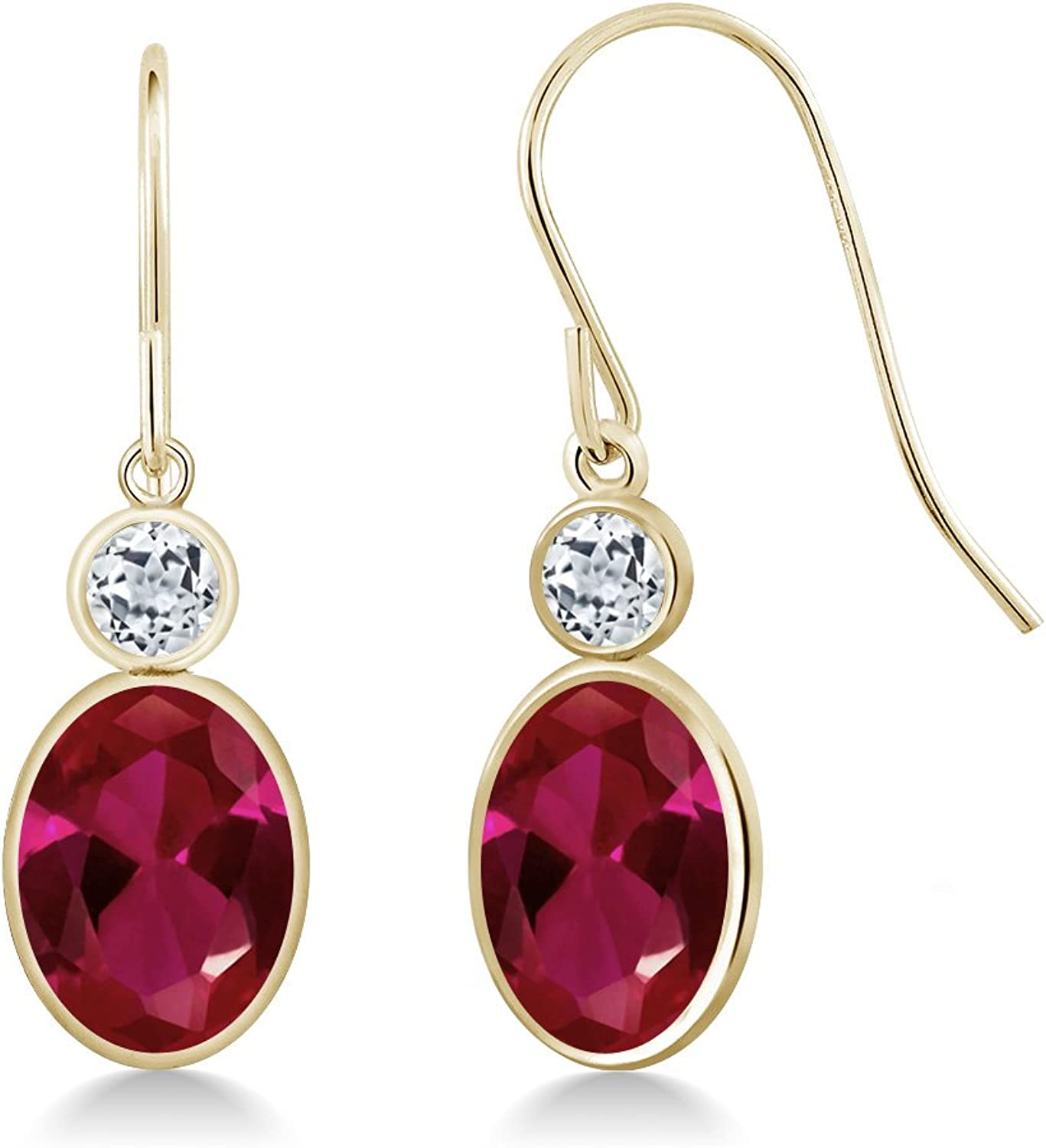 3.12 Ct Oval Red Created Ruby White Topaz 14K Yellow gold Earrings