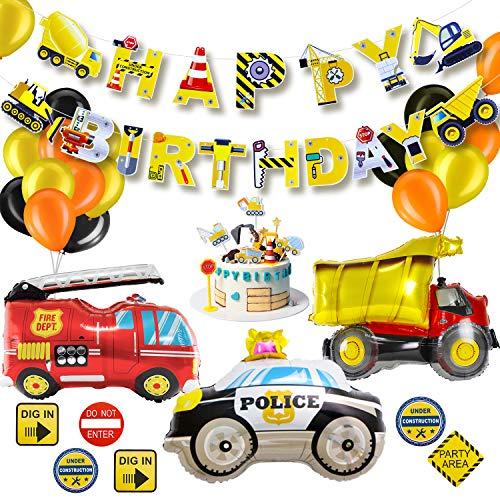 Geburtstagsdeko, BAU Geburtstag Party Dekoration für Kinder, Happy Birthday Girlande Baufahrzeug Feuer Auto Polizeiauto Folienballons, Verkehrsschild Aufklebe und Kuchen Topper für Kindergeburtstag