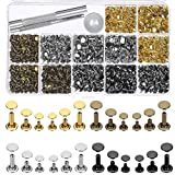 Selizo 480 Sets 4 Colors 3 Sizes Leather Rivets Double Cap Rivet Tubular Metal Studs with 3 Pieces Setting Tool Kit for Leather Craft Repairs Decoration