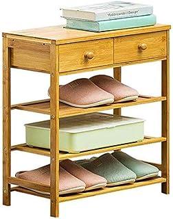 Étagère à chaussures Extensible en bambou à 3 niveaux, empilable avec 2 tiroirs debout, organisateur de rangement for armo...