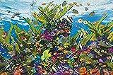 Lsdakoop Kit de pintura por números con pinceles y pigmento acrílico DIY pintura lienzo para adultos principiante acuario marino 40x50cm sin marco