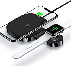 2 in 1 Wireless Charger for Apple Watch,Wireless Charger Pad Stand Qi Fast Wireless Charging Station for Apple Watch Series 4/3/2/1/Airpods 2/iPhone Xs Max/XR/X/8 Plus/8 Samsung Note 9/8 and More
