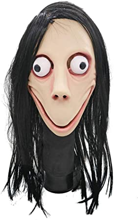 WALSITK Terror máscara de látex máscara de Cabeza Completa Ojos Grandes Peluca Larga: Amazon.es: Hogar