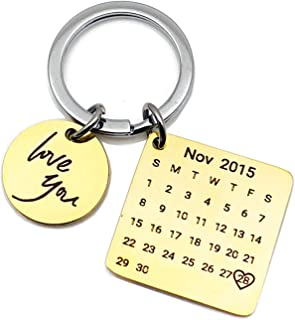 Daesar Stainless Steel Keychain Charm Round and Square Tag Calendar Date Inspirational Keychains for Women