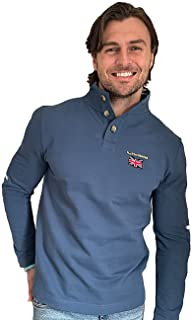 Help for Heroes Men's Button Up Union Jack Sweatshirt Jumper in Blue