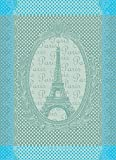 Garnier Thiebaut, Eiffel Vintage (Vintage Eiffel Tower) Celadon, 22 by 30', French Kitchen Towel, 100% two-ply twisted cotton Cotton, Made in France