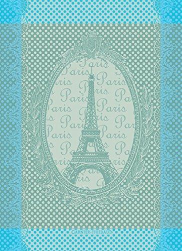 Garnier Thiebaut, Eiffel Vintage (Vintage Eiffel Tower) Celadon, 22 by 30', French Kitchen Towel, 100 Percent Cotton