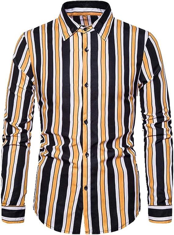 U/A - Camisa de manga larga a rayas para hombre en otoño e ...