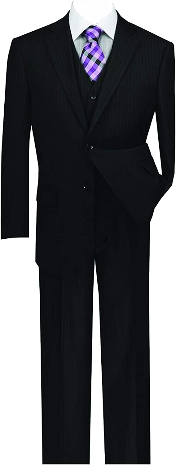 VINCI Men's Pinstripe 2 Button Single Breasted Classic Fit Suit with Vest V2RS-7
