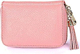 Dlife Genuine Cowhide Leather Wallet Zipper Accordion Pendant Tassel RFID Blocking 15 Card Slots Small Credit Card Wallet for Women (Pink)