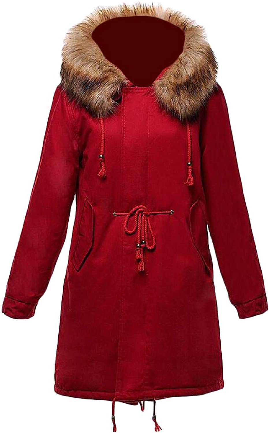 Pluszing Womens Faux Fur Hoodie Casual Loose Outerwear Quilted Parkas Coat