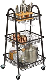 mDesign étagère de rangement mobile – chariot à roulettes en métal avec 3 étages – meuble rangement roulettes compact pour...