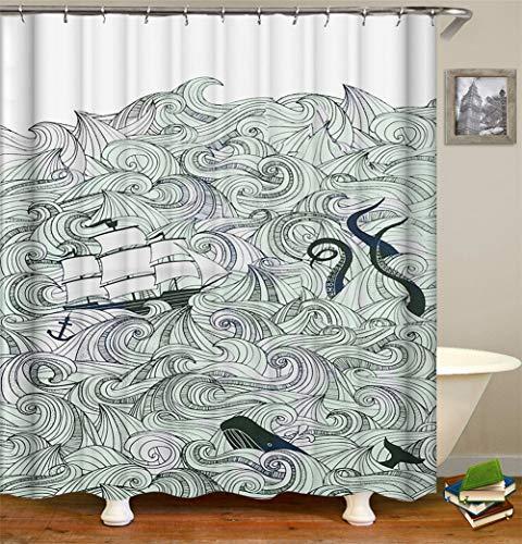 ZZZdz Handbeschilderd. De golven rollen over de zee. Een Zeilboot. Een Octopus. Douchegordijn. Waterdicht. Eenvoudig te reinigen. 180 x 180 cm.