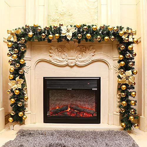 1.8 m Christmas Wreath Decoration Fir Garland Gold with Bow Bells and Plastic Flowers Hazelnut for Home Textiles Pine Festive Stairs Fireplace Door Garden