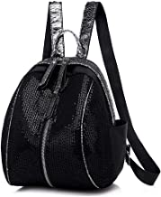Backpack for Women Fashion Leather Ladies Rucksack Woven Women's Backpack (Color : Black, Size : One size)