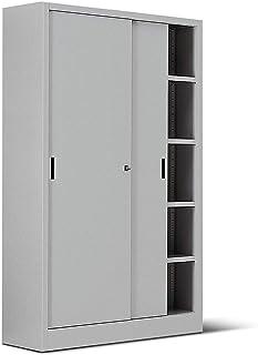 ITALFROM Archivio 2460 Armoire en métal gris pour bureau avec portes coulissantes, 120 x 45 x 200 cm
