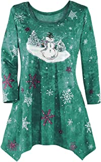 youeneom Women's Christmas Tunic Blouse Top, Winter Birds and Sequins, Cardinals and Berries, Sharkbite Hem