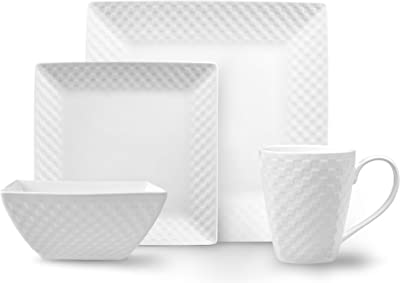 ROSCHER Basketweave Dinnerware Dish Set (32-Piece) White Porcelain Square Dishes | Dinner