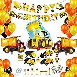 BOYATONG Deco Anniversaire Garcon,Kit Anniversaire,Ballon Banderole Joyeux Anniversaire Decoration Garcon 1 2 3 4-10 Ans,Camion,Chantier,Cars, Tracteur pour Enfant,Garçon