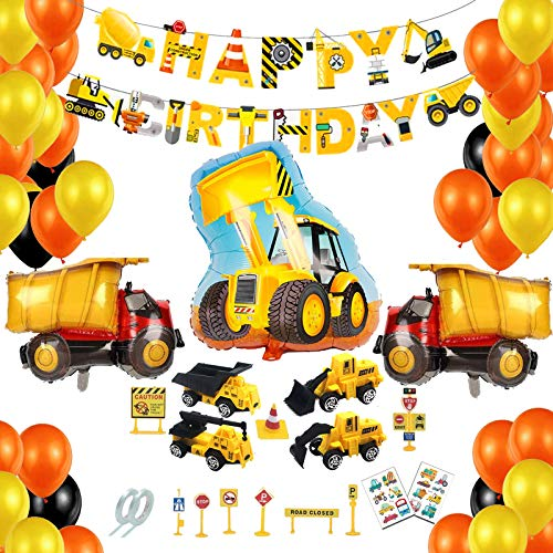 BOYATONG Decorazione di Compleanno di escavatori, Decorazioni di Compleanno Bau, Palloncini stagnola per Auto antincendio per Veicoli da Costruzione, Ragazzi di Decorazione di Compleanno (Bau)