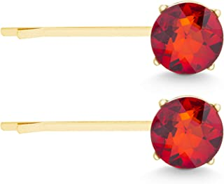 Steve Madden Yellow Gold Tone Red Rhinestone Stud Design Hair Pin Set for Women (Red)