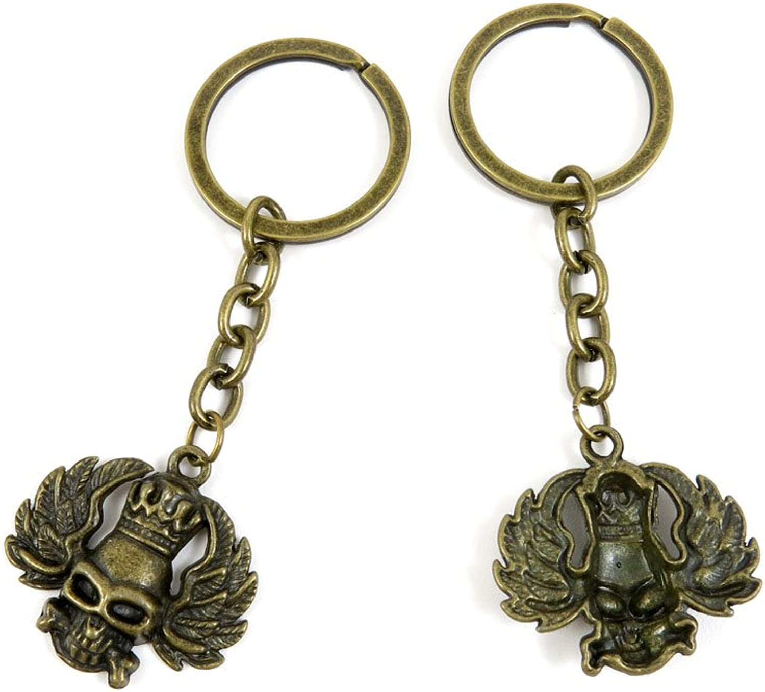 100 PCS Keyrings Keychains Key Ring Chains Tags Jewelry Findings Clasps Buckles Supplies P7PF3 King Skull