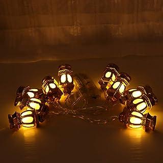 Mobestech 2pcs Eid Mubarak String Lights Vintage Lantern Deluxe Fairy Lights Battery Powered Decorative Lights for Muslim ...