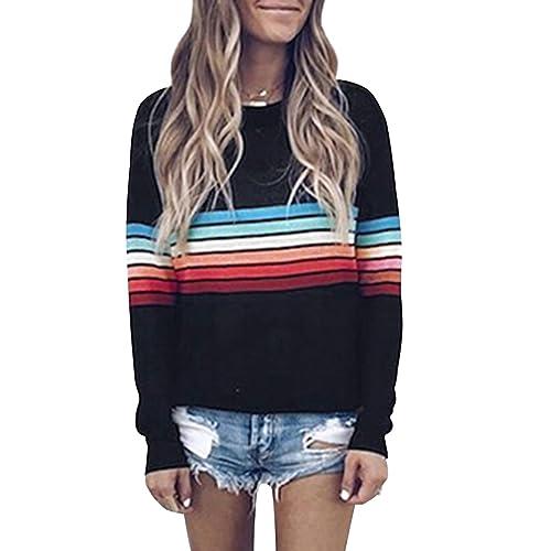 c6838c67ee77 SEHOO Women s Striped Crewneck Sweatshirt Long Sleeve T-Shirts Tops